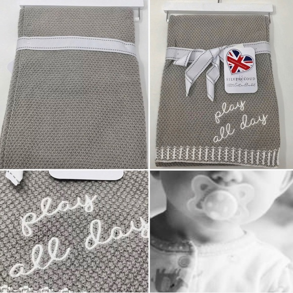 NWT SILVER CLOUD COTTON BABY BLANKET PLAY ALL DAY